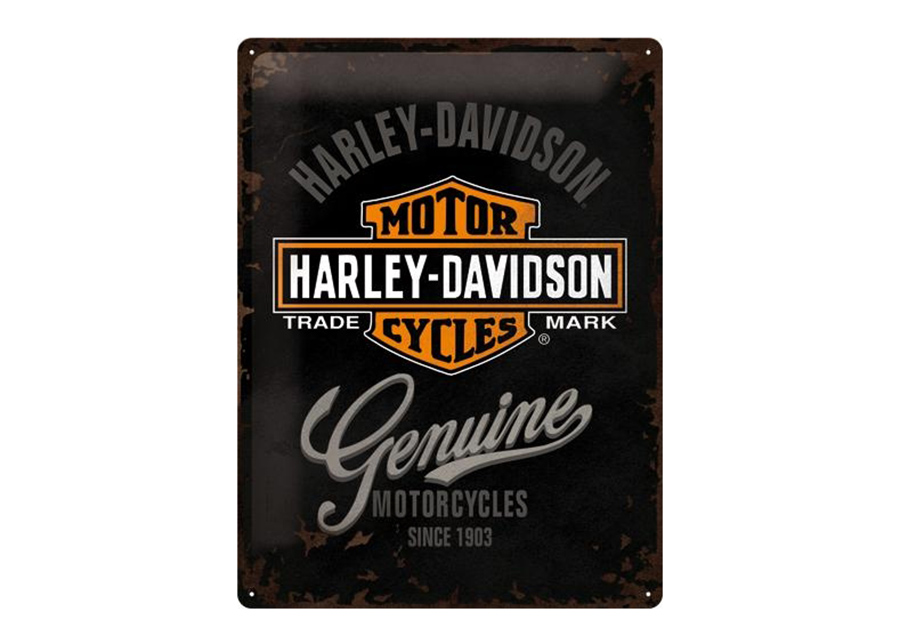 Retro metallijuliste Harley-Davidson Genuine logo 30x40 cm