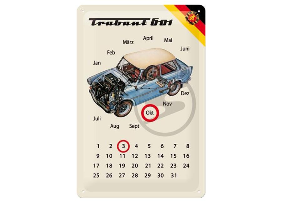 Retro metallikalenteri Trabant 601 20x30 cm