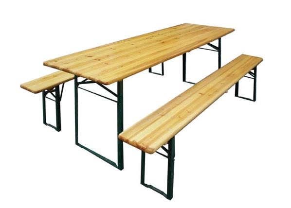 Kokoontaitettavat puutarhakalusteet, pöytä 70x220 cm+2 penkkiä
